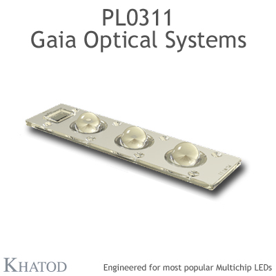 GAIA Optical Systems for Multichip LEDs; Module dimensions: 195,74mm x 50,82mm side, 17,50mm height - 60° FWHM