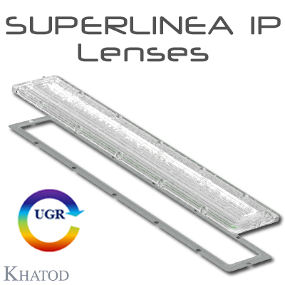 SUPERLINEA Lenses for IP protection for Mid Power LEDs - 334.87mm x 59.86mm side - from 10.09mm to 13.22mm height