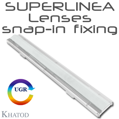 SUPERLINEA Lenses snap-in fixing for Mid Power LEDs - 283.45mm x 39.90mm side - from 10.29mm to 13.42mm height