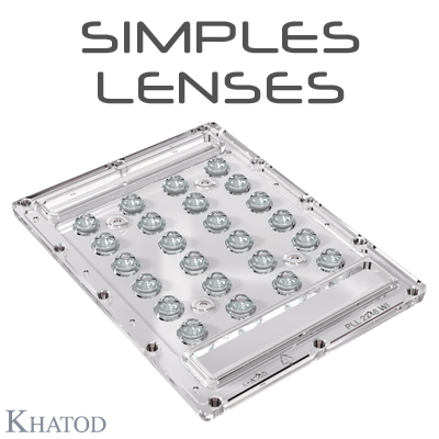 SIMPLES Optical Systems with 24 Lenses for 5050 package LEDs - 135.00mm x 100.00mm side - 9.10mm height