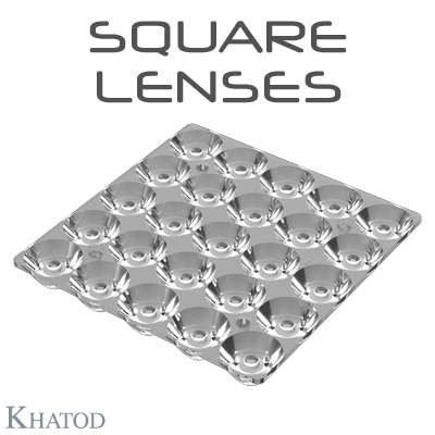 SQUARE Optical Systems with 25 Lenses for 3535 package LEDs - 74.90mm x 74.90mm side - from 9.40mm to 9.82mm height