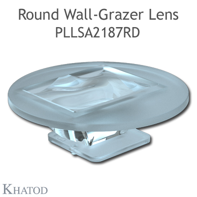 Round Wall-Grazer Lens for 2.0x2.0mm LEDs - 49.84mm diameter - 15.30mm height - 48° FWHM