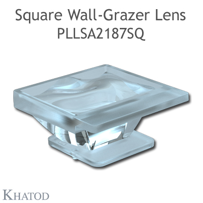 Square Wall-Grazer Lens for 2.0x2.0mm LEDs - 34.00mm x 34.00mm side - 15.30mm height - 48° FWHM