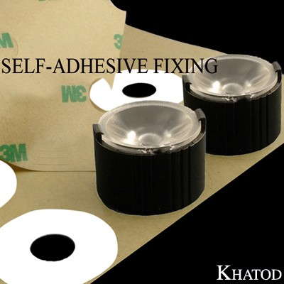 Single Lenses Self-Adhesive Fixing for Power LEDs with Holder; Wide Beam