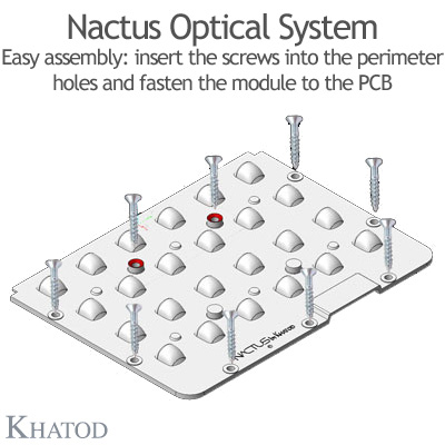 Nactus Optical System with 24 Lenses - Module dimensions: 178,00mm x 139,80mm (with pocket, the cable entrance service is provided by a pocket on one side of the panel) - IESNA Type III